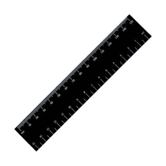 black engraved ruler