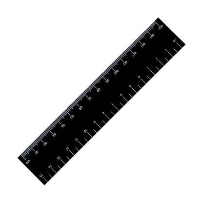 black engraved ruler